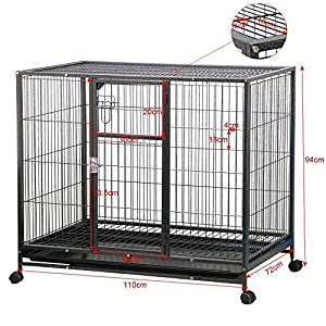 "Yaheetech Rolling 43"" Wire Pet Crate Dog Cat Cage Exercise Playpen w/Tray Double Doors Metal Heavy Duty, Black"