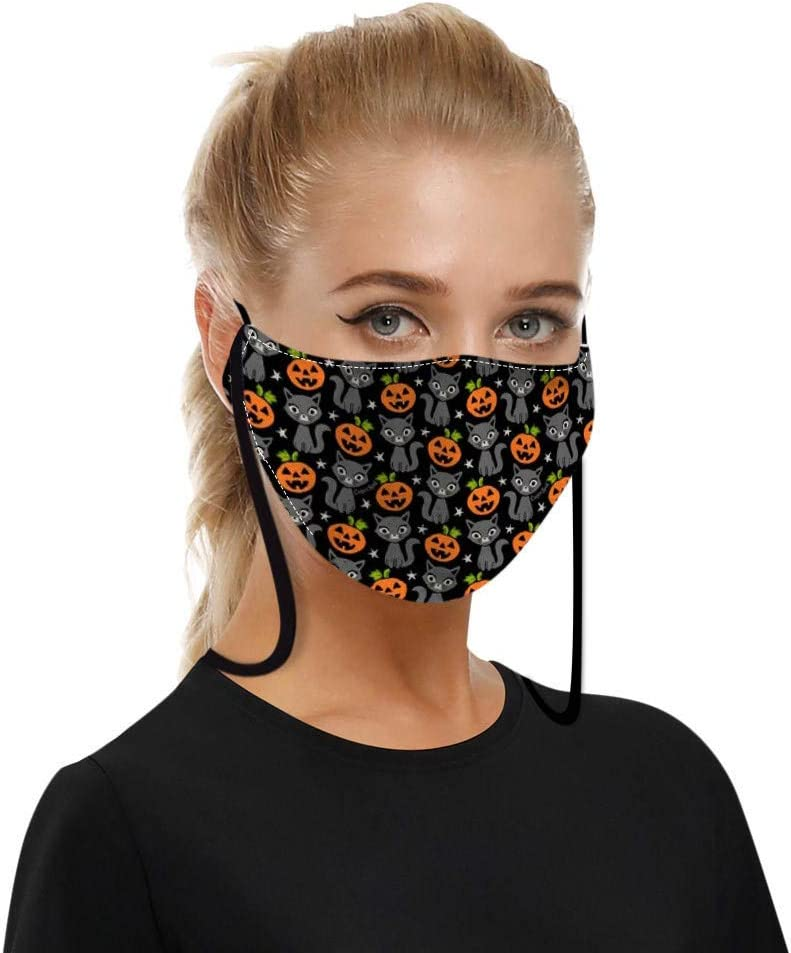 for Adults Luckylin Reusable and Breathable,Double Layer Halloween Print Face Bandana with Hanging Neck Strap,Adjustable Earloop,Indoors and Outdoors