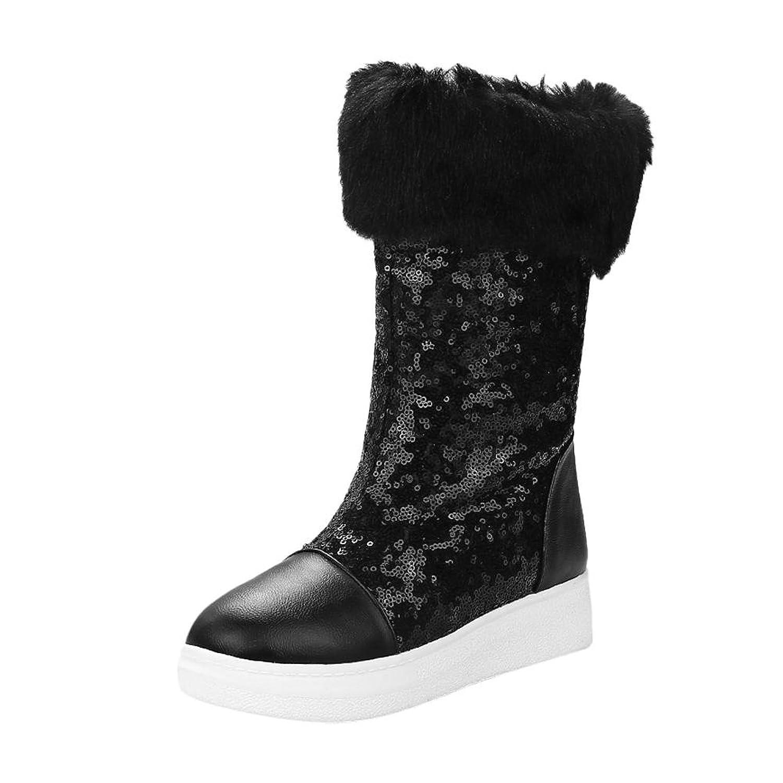 Carolbar Women's Sequins Warm Comfort Casual Fashion Faux Fur Snow Boots