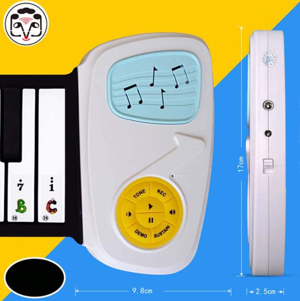 CE-LXYYD 49-Key Hand roll Piano, Children's Entry Portable eco-Friendly Silicone Keyboard, Built-in Speaker, with 6 Demonstration Songs to Support Recording,White by CE-LXYYD (Image #4)