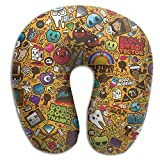 GirlApron Cute Objects Pattern Memory Foam U-Shaped Pillow,Fashion Travel Rest Pillow for Neck