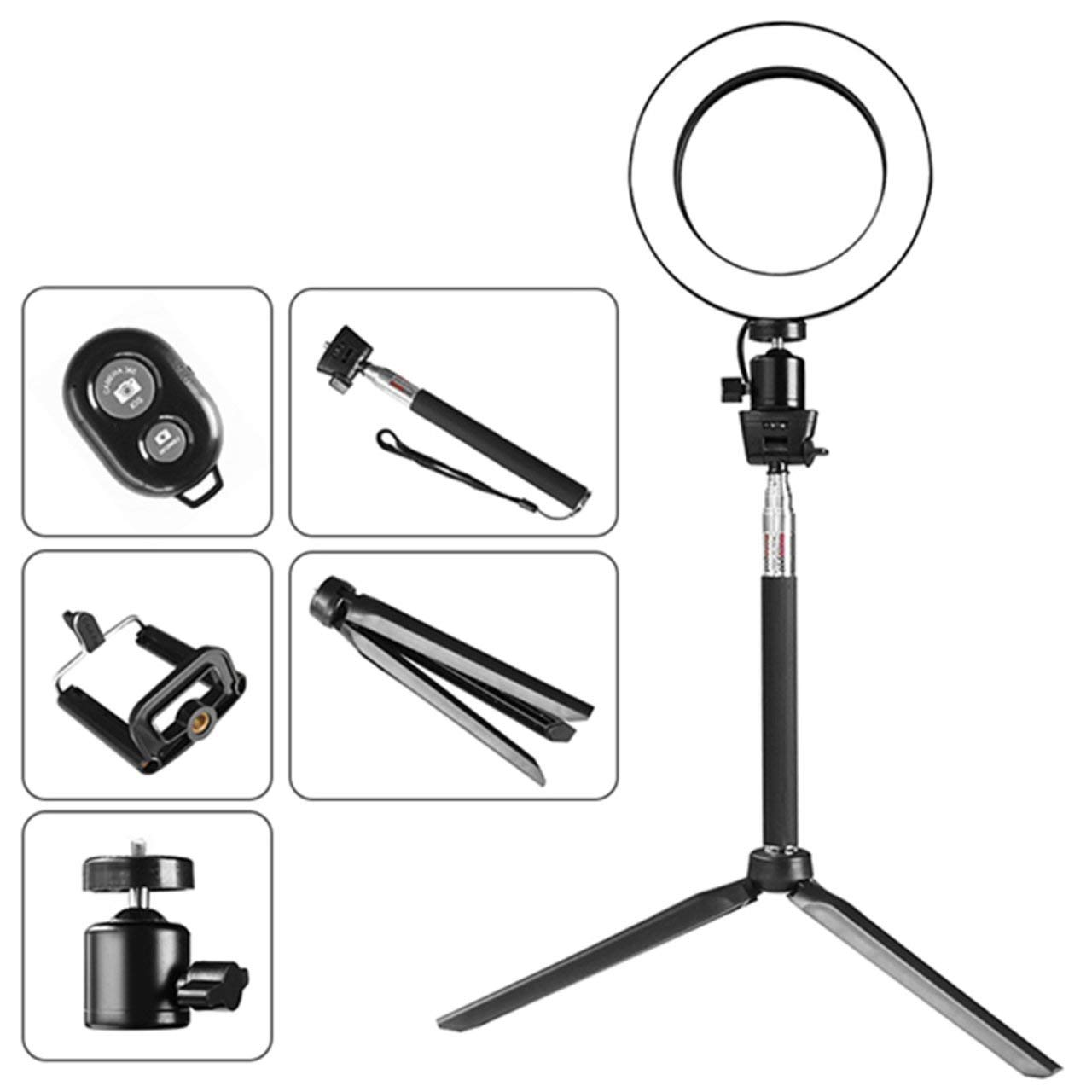 Selfie Lamp Photo LED Ring Light Dimmable Phone Video Lamp with Tripod Selfie Stick Ring Fill Light