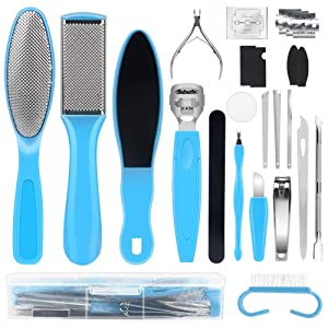 Foot File Pedicure Tools Kit, 20 In 1 Foot Care Pedicure Tools Set, Dead Skin Callous Removers For Feet, Nail Toenail Clipper Foot Care Set (Blue)