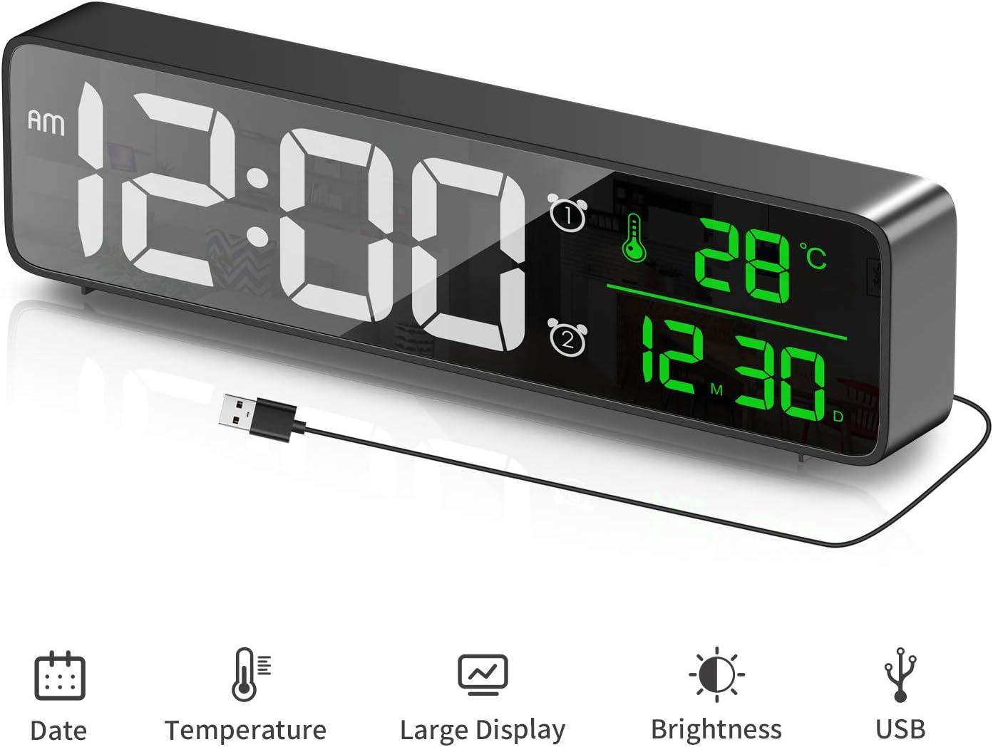 HOTERB Reloj Despertador Digital, Reloj de Espejo con Pantalla LED Grande con Alarma Dual y Temperatura y Fecha, Brillo y Volumen Ajustables para Cabecera Hogar Oficina, Negro