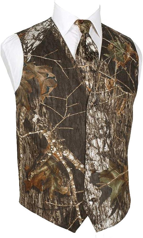 HBDesign Mens 2 Piece 4 Button Vests Outerwear Camouflage Color (Vest+Tie)