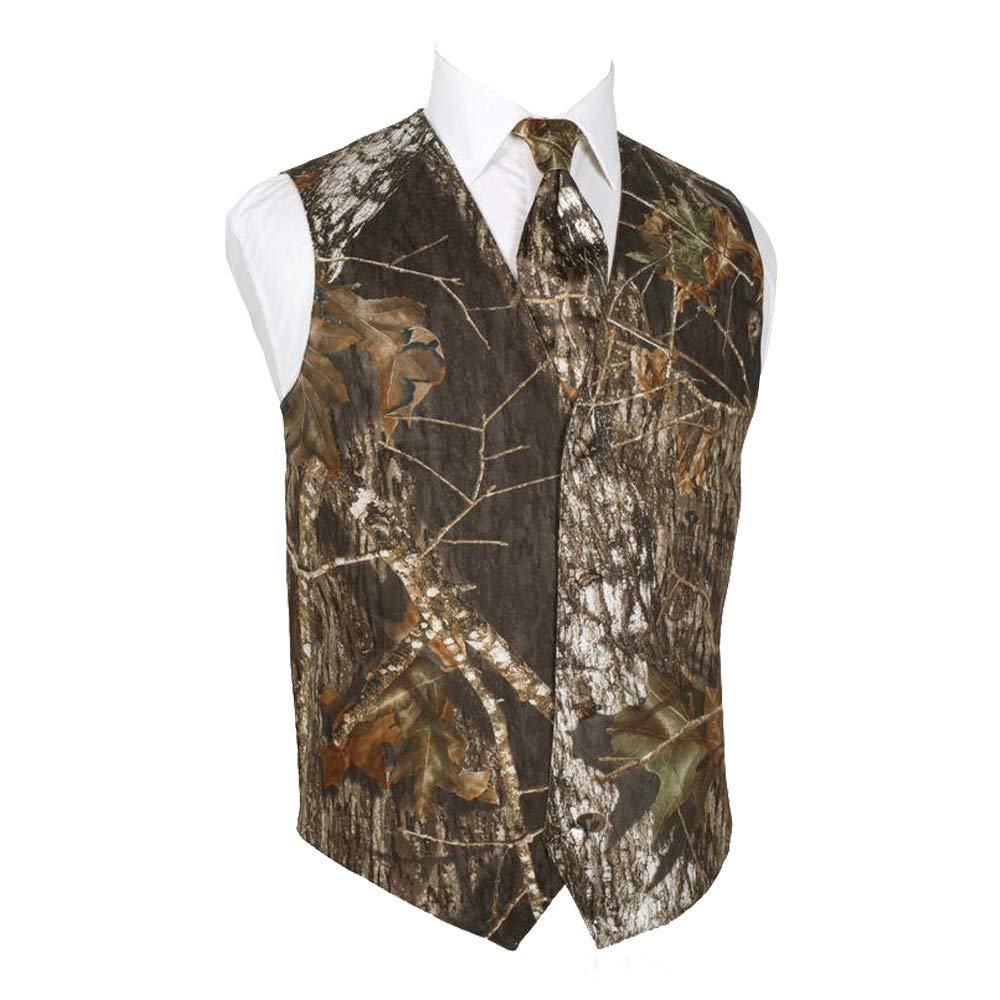 HBDesign Mens 2 Piece 4 Button Vests Outerwear Camouflage Color (Vest+Tie) HMV006 Camouflage