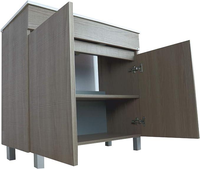 Crocket Mueble de Baño Luup + Lavabo Cerámico + Espejo - Cajones amortiguados - Acabado Melamina - Viene Montado - Estepa - 80x60x45: Amazon.es: Hogar
