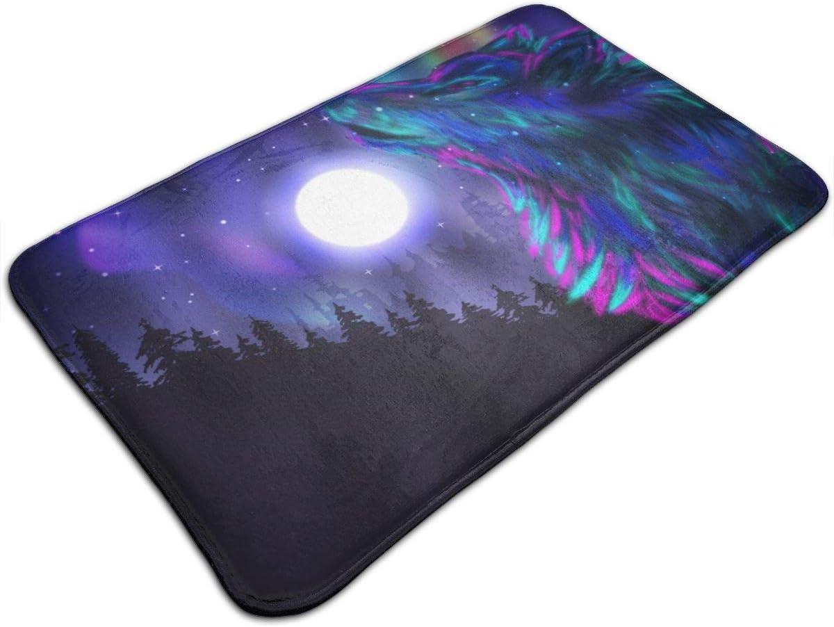 Alfombra De Baño Imágenes del Norte con Aurora Boreal Wolf Spirit Bosque mágico Noche Estrellada Antideslizante Alfombrilla Alfombra de Ducha 75cmx45cm