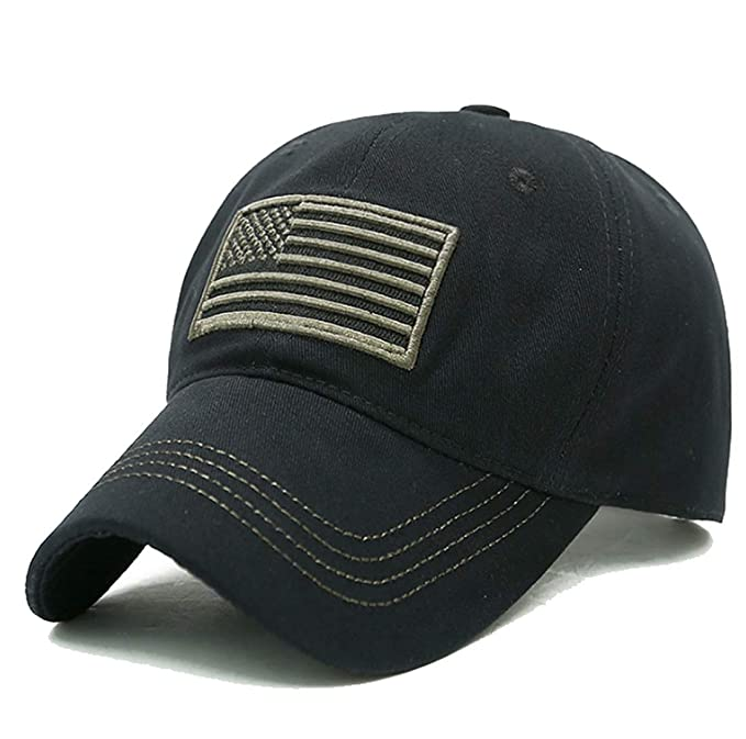 66da394e080 LOKIDVE USA American Flag Baseball Cap Embroidered Polo Style Military Army  Hat-Black