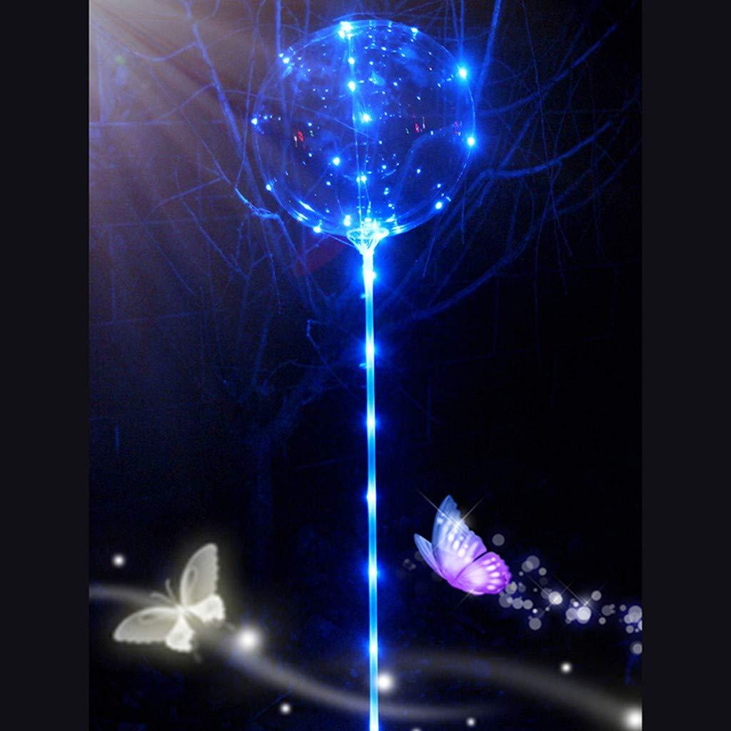 oldeagle Reusable Luminous Led Balloon, Clear Latex Round Bubble Creative Balloon for Birthday Wedding Party Decorative 21cm (Blue)