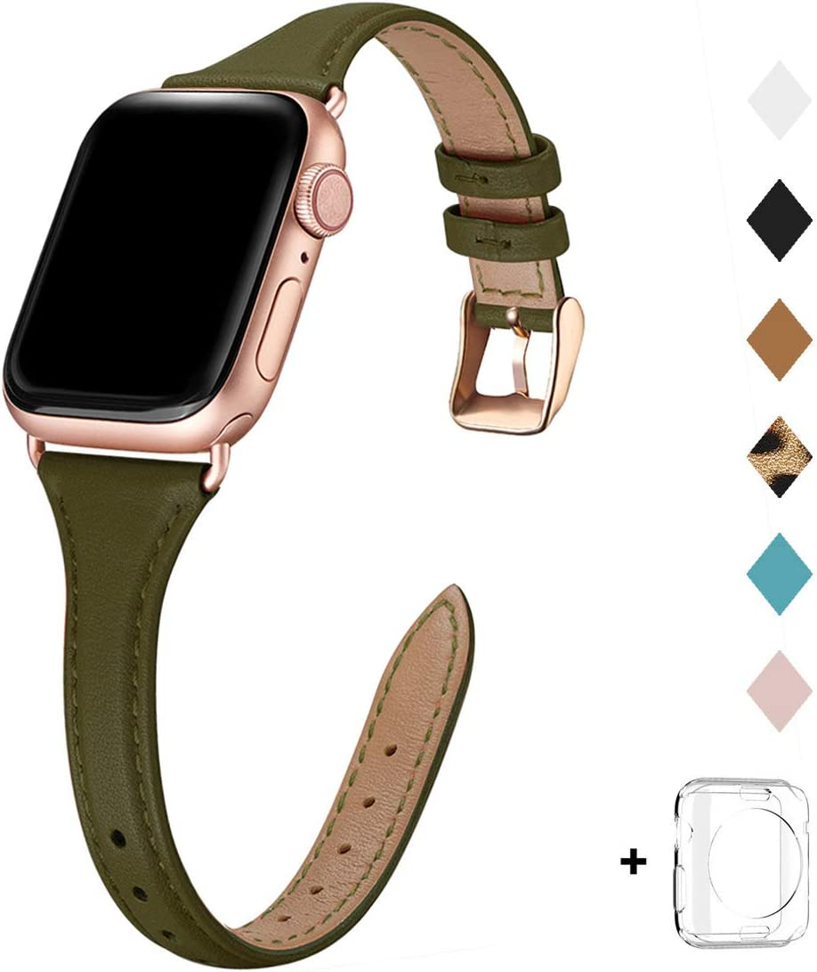 Bestig Leather Band Compatible for Apple Watch 38mm 40mm 42mm 44mm, Slim Thin Genuine Leather Replacement Strap for iWatch Series 6 SE 5 4 3 2 1 (Olive Green Band+Rose Gold Adapter, 38mm 40mm)