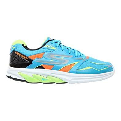 Skechers Mens Go Run Strada, Blue/Lime, 11 D