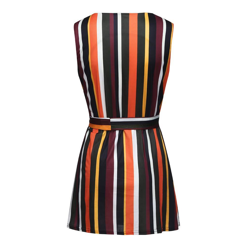 Psunrise Falda Women Summer V Neck Sleeveless Striped Printed Elastic Bandage Sashes Casual Beach Party Mini Dress