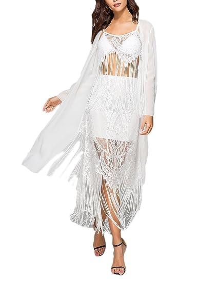 Pareos Playa Mujer Elegante Verano Fiestas Manga Larga Chiffon Encaje Encima Rodilla Beach Tops Tul Fiesta