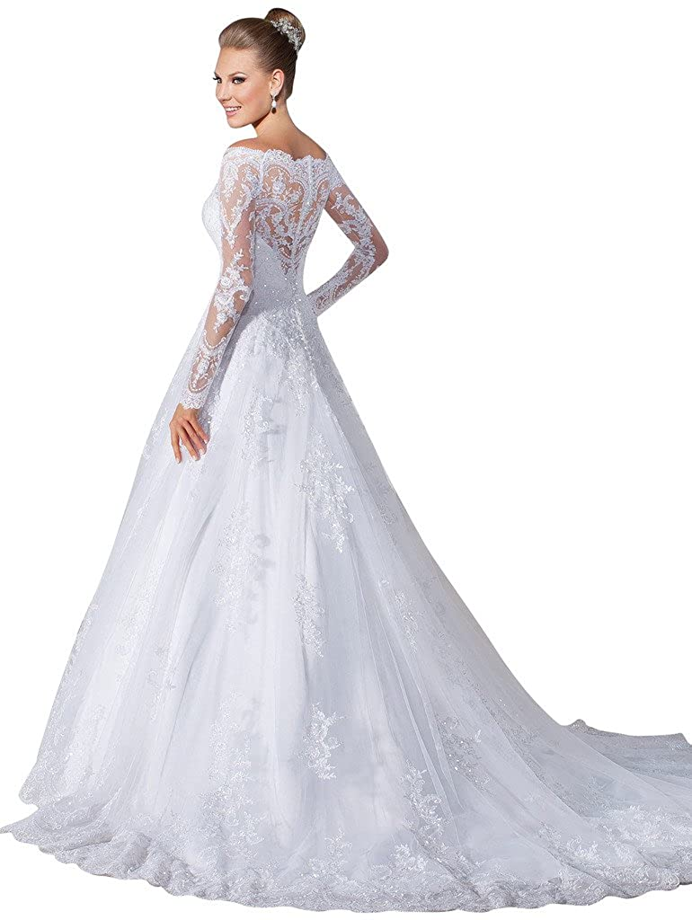 f763ae1001e34 VERNASSA A-line Bridal Dresses Long Sleeves Off The Shoulder Lace Wedding  Dre. White at Amazon Women's Clothing store: