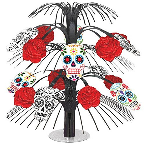 [Amscan Day of the Dead Halloween Party Sugar Skull Cascade Table Centerpiece Decoration, Multicolor,] (Black Swan Costumes For Halloween)