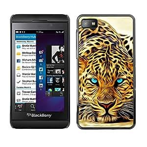 Blackberry Z10 , Radio-Star - Cáscara Funda Case Caso De Plástico (Ferocious Leopard Jaguar Painting)
