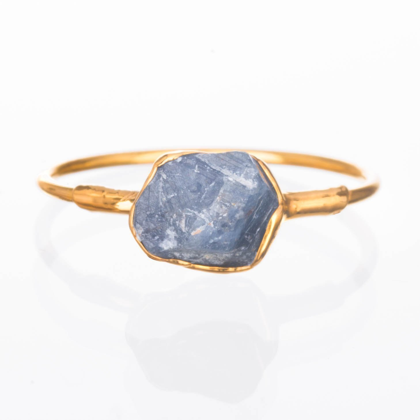 Raw Sapphire Ring, Size 8, 14k Gold Filled, September Birthstone