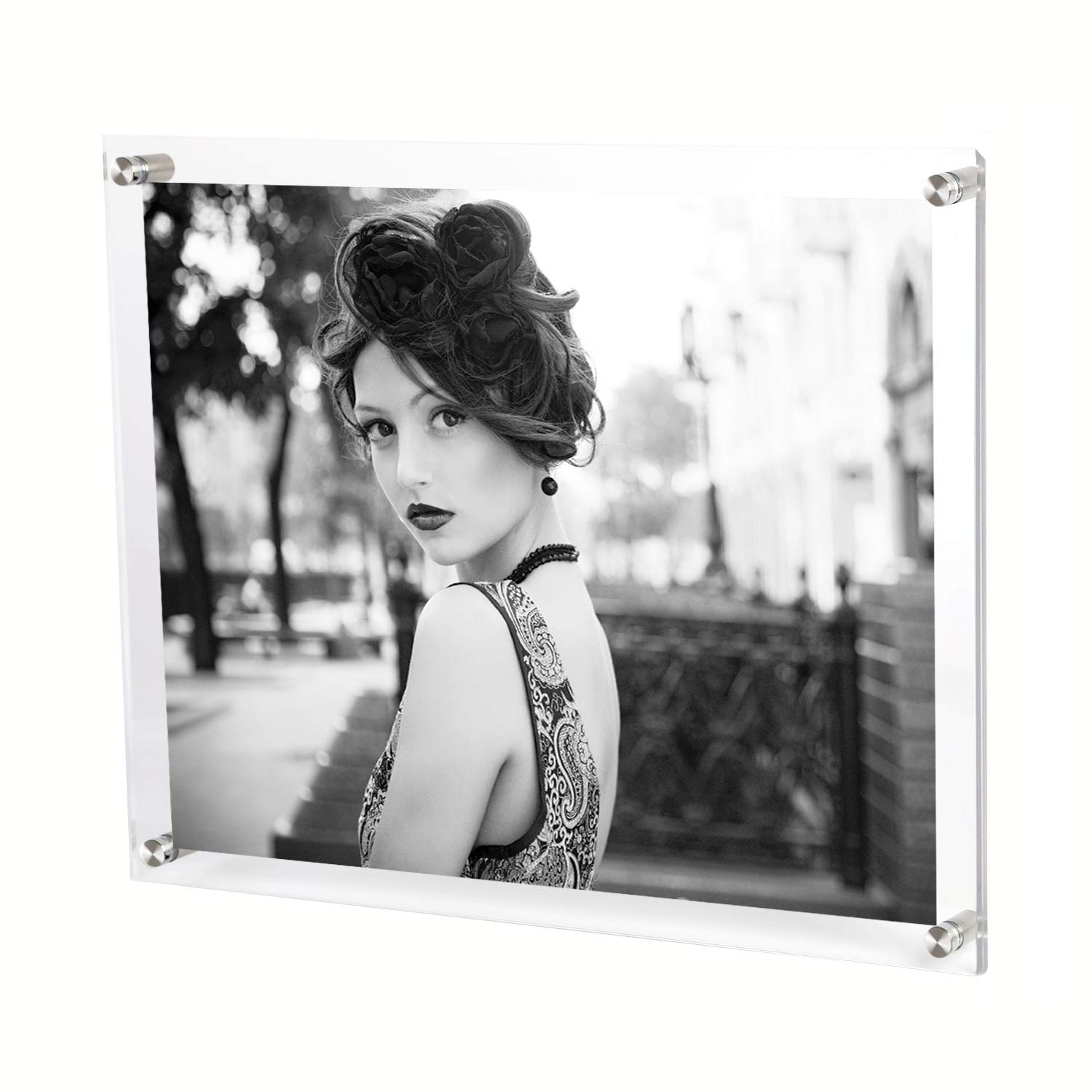 Bloberey 11 x 14 Acrylic Picture Frames Wall Mount Photo Frame Frameless Clear Floating Frame for Document Certificate Artwork(4 Pack)