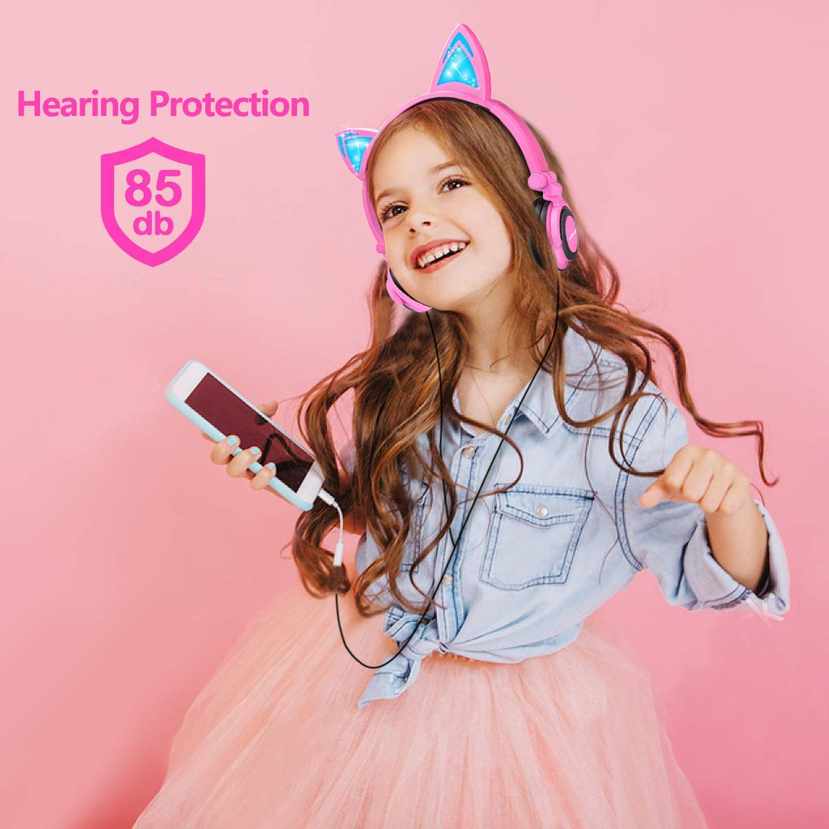 Barsone Cat Ear Headphones, Wired Cat Ear Earphones with Glowing Lights Cosplay Fancy Foldable Over Ear Headsets with Led Light Up / 3.5mm Earphone for Kids,Children,Girls ,Boys (Pink)