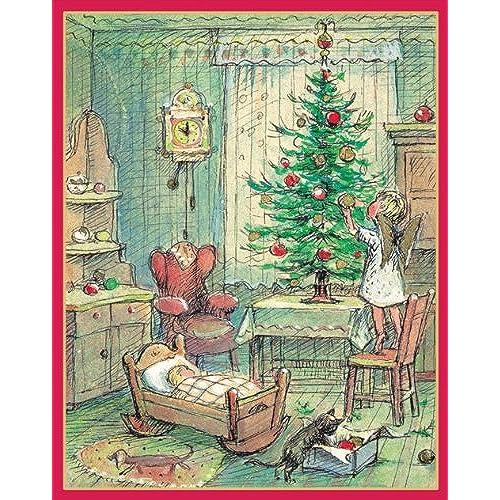 caspari angel decorating tree christmas cards box of 16 - Caspari Christmas Cards