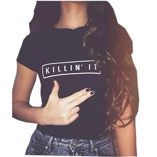 f5b44ad1 YITAN Women Tees Teen Girl Tops Graphic Cute Funny T Shirt Black Small