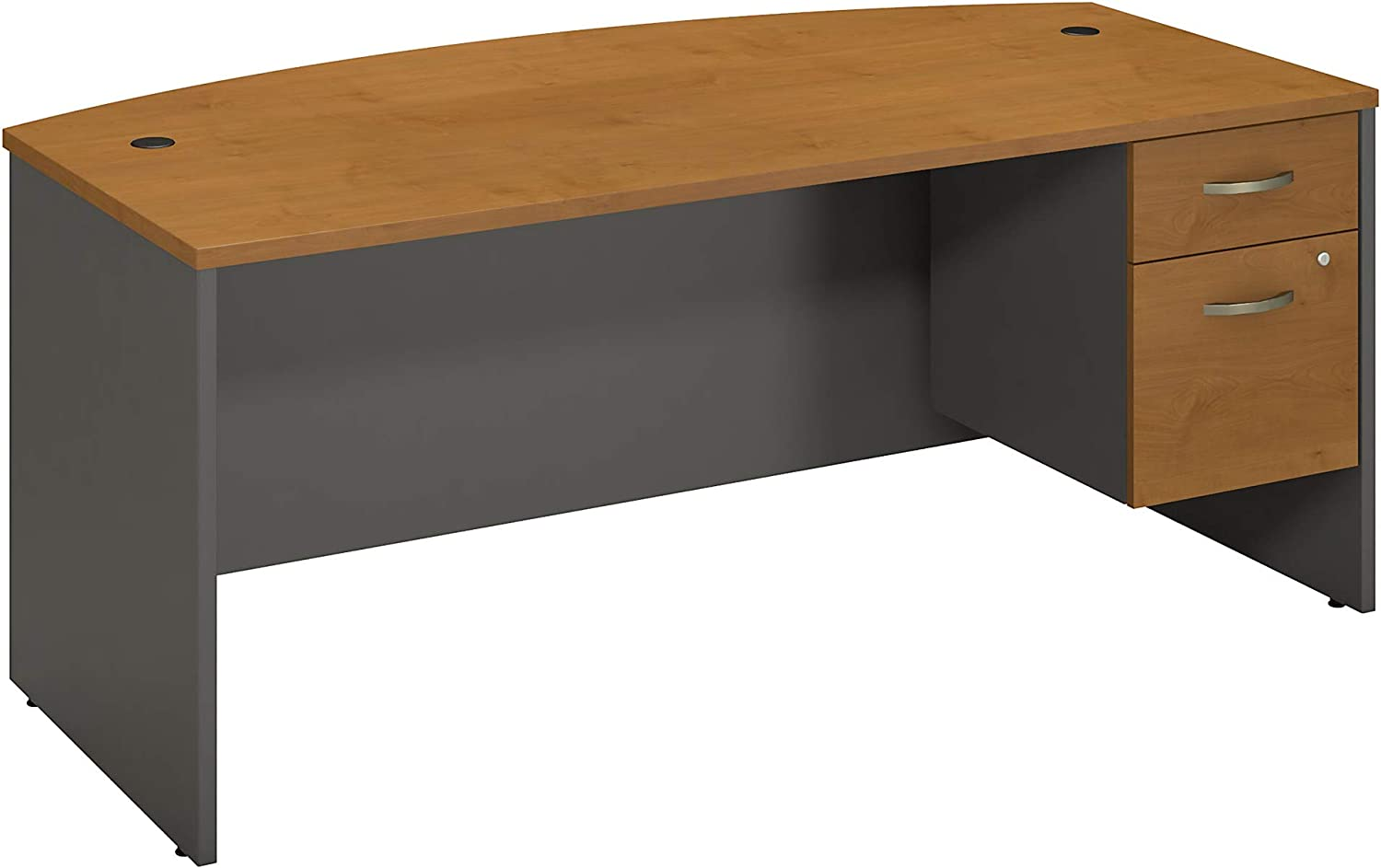 Bush Business Furniture Series C Collection 72W X 36D Bow Front Desk with 3/4 Pedestal in Natural Cherry