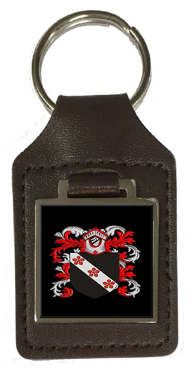 Betts Family Crest Surname Coat Of Arms Brown Leather Keyring Engraved