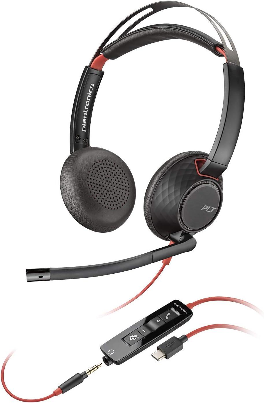 Plantronics Blackwire 5220 - Auriculares con micrófono (Centro de llamadas/Oficina, Binaural, Diadema, Negro, Rojo, Skype for Business, Alámbrico)