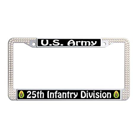 U.S ARMY 25TH INFANTRY METAL CHROME LICENSE PLATE FRAME