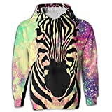 Africa Zebra Men's Hoodies Pullover Realistic 3D Printed Hooded Sweater with Pocket