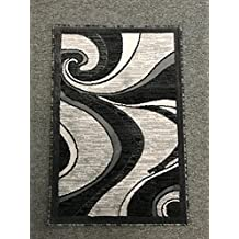 Modern Contemporary Door Mat Rug Grey & Black Design 144 (2 Feet X 3 Feet)