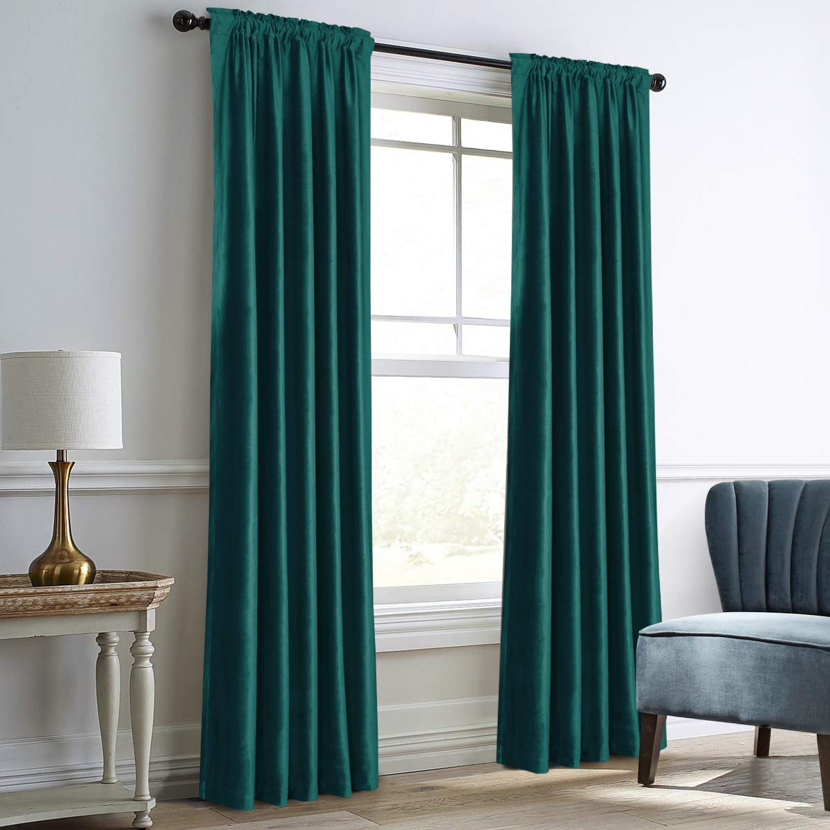 "Dreaming Casa Darkening Teal Velvet Curtains for Living Room,Thermal Insulated Rod Pocket/Back Tab Window Curtain for Bedroom(2 Top Construction Combination,52"" Wx84 L)"