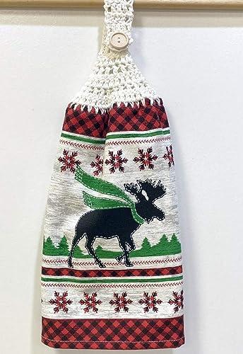 Black Red Crochet Top Kitchen Towel