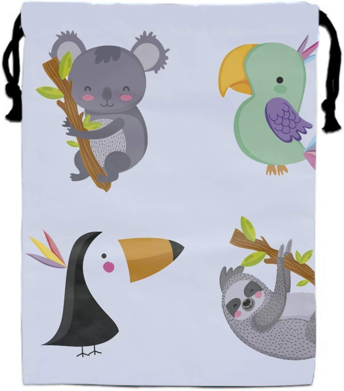 Party Birds Set Drawstring Pouch Shoe Storage Travel Organizer Bag Multipurpose Printed