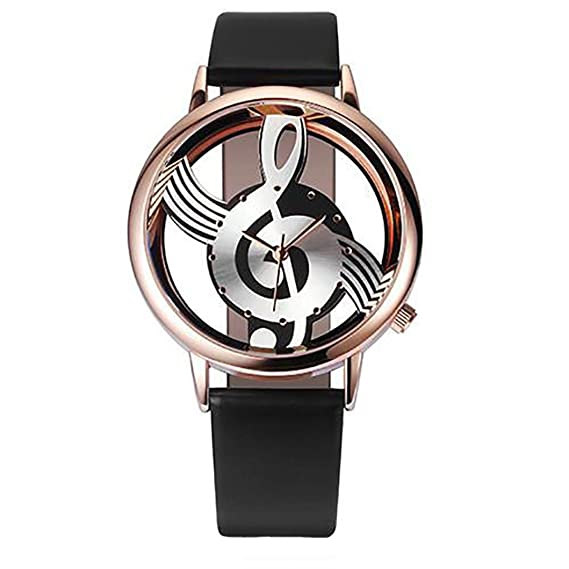 Watches for men and women couple Fashion Musical Hollow Faux Leather Strap Quartz Wrist Watch,
