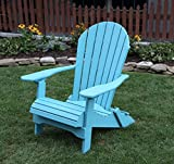 ARUBA BLUE-POLY LUMBER Folding Adirondack Chair with Rolled Seating Heavy Duty EVERLASTING Lifetime PolyTuf HDPE - MADE IN USA - AMISH CRAFTED