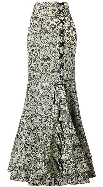 EKU - Falda de Cola de pez Estilo Vintage con Volantes góticos ...