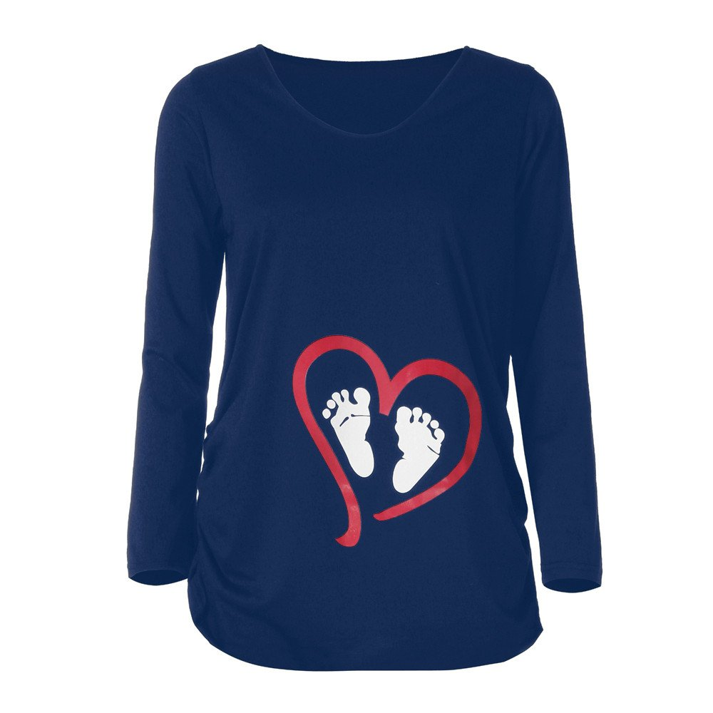 Maternity Shirts Clothes Nursing Tops Pregnant Women Casual Footprint Print Long Sleeve Loose Blouses Tunic Tees T-Shirt
