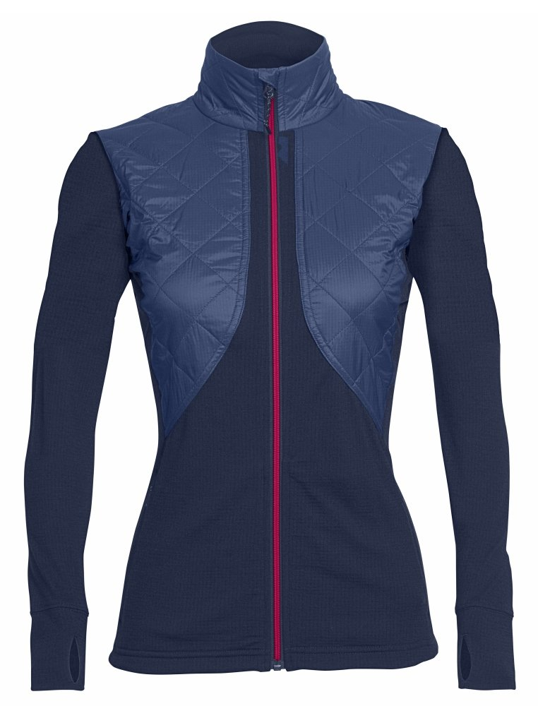 Icebreaker Merino Women's Ellipse Long Sleeve Zip Jacket, Admiral/Pop Pink, Large