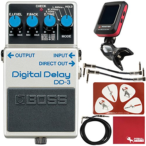 (BOSS DD-3 Digital Delay Guitar Effects Pedal with Cables, Tuner, Polish Cloth, Picks)