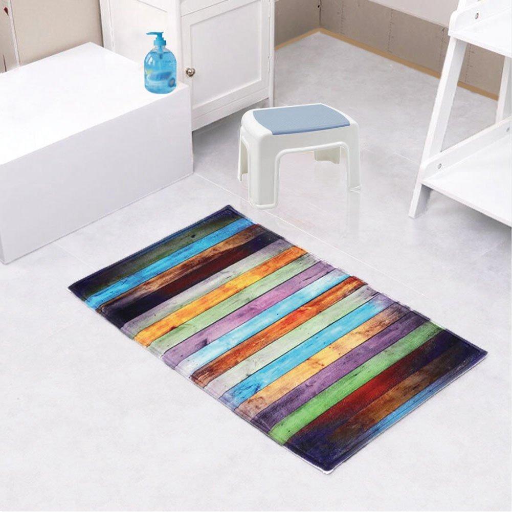 Amazon.com: Newcreativetop Colorful Wooden Pattern Kitchen Door Mats ...