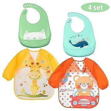 Lictin L/ätzchen Baby L/ätzchen Abwaschbar Baby l/ätzchen aus Silikon mit Auffangschale L/ätzchen Antibakteriell BPA frei Einfache Reinigung 2pcs