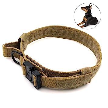 CyberDyer Collar de Perro táctico Ajustable Militar irrompible Collar de Entrenamiento con Anilla en D asa de Control y Hebilla de liberación rápida: ...