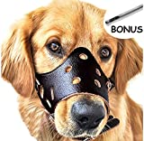 Adjustable Leather Dog Muzzles, Lightweight Durable, for Anti-biting Anti-barking Anti-chewing Safety Protection (XL, Black)
