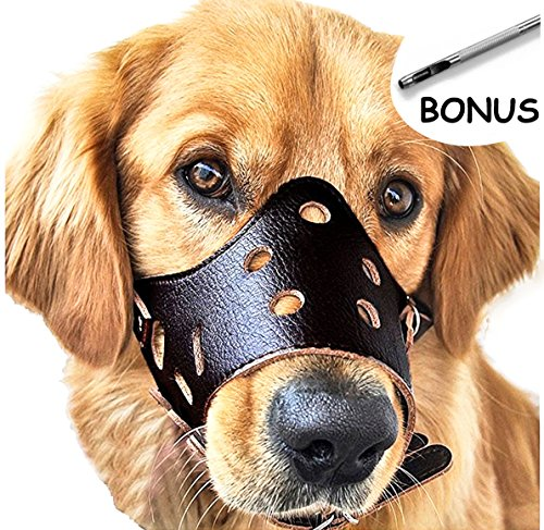 Adjustable Leather Dog Muzzles, Lightweight Durable, for Anti-biting Anti-barking Anti-chewing Safety Protection (L, Black) by Sevicat