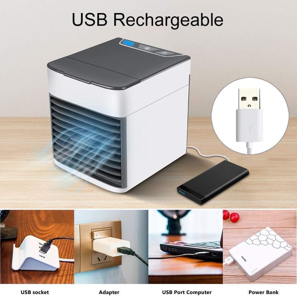 Condizionatore daria portatile,4 in 1Mini dispositivo di raffreddamento dellaria personale,umidificatore,purificatore e ventola di raffreddamento desktop evaporativo,ultra-silenzioso USB 7 colori Luce LED