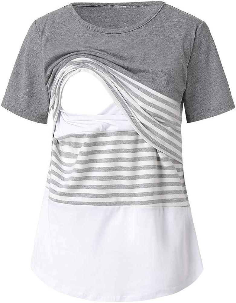 STRIR Camiseta de Lactancia Maternidad Lisos Camisa Mujer Blusa Breastfeeding Embarazadas Premamá Primavera otoño Tops (S, Gris#0123): Amazon.es: Ropa y accesorios