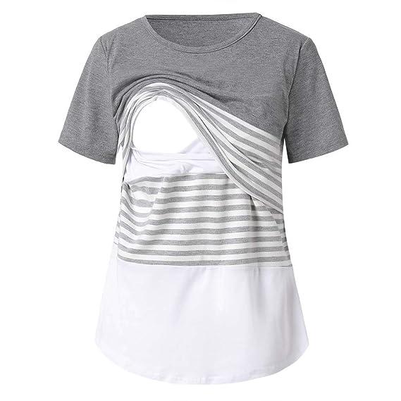 SamMoSon 2019 Jersey Camison Ropa Premama Verano Sujetador Lactancia Vestidos para Camison,Camisa De Maternidad