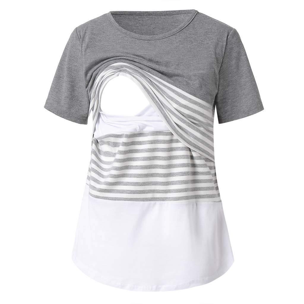 Dsood Pregnant Blouse Maternity,Women Maternity Nursing Stripe Round Neck Short Sleeve Blouse Shirt,Maternity Activewear,Blue,2XL